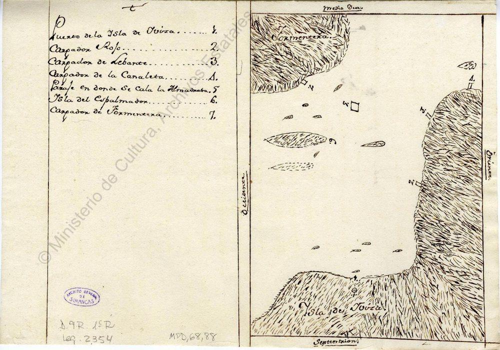 """""""Mapa con la ubicación de las almadrabas de Ibiza"""" (1768) Font: Arxiu de Simancas"""
